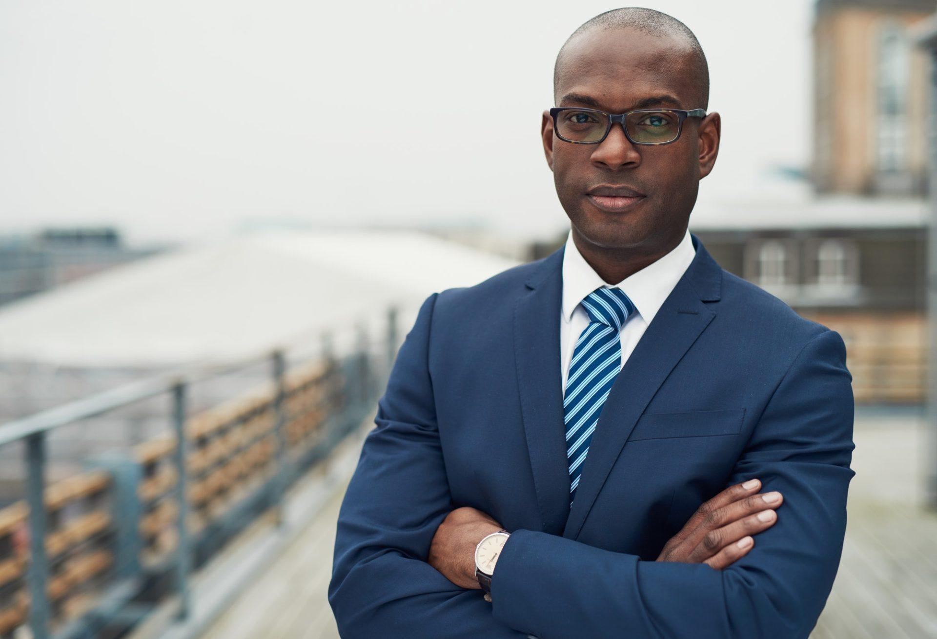 Confident black business man